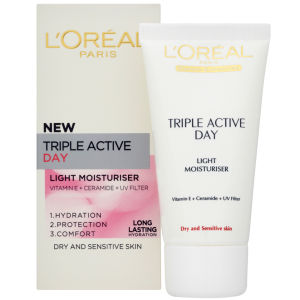 L'Oreal Paris Dermo-Expertise Triple Active Light Day Moisturiser - Dry/Sensitive (50ml)