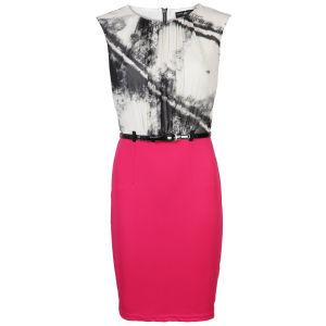 Little Mistress Women's Monochrome Tie Dye Print and Pink Contrast 2 in 1 Dress - Pink