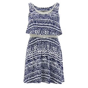Influence Women's Tiered Aztec Dress - Navy