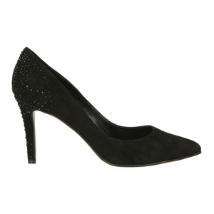 Lola Cruz Women's Jewelled Suede Court Shoes - Black