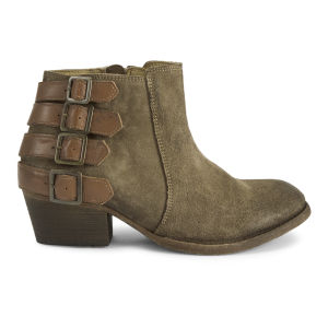 H Shoes by Hudson Women's Encke Multi Buckle Suede Ankle Boots - Beige
