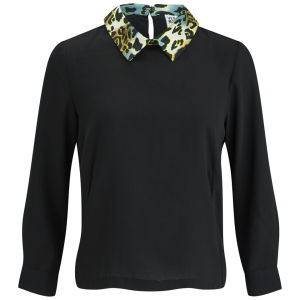 Vero Moda Women's Medine Contrast Collar Top - Black