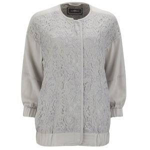 By Malene Birger Women's Asia Silk Bomber Jacket - Pale Grey