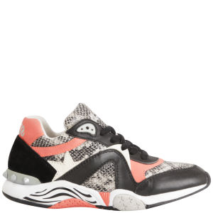 Ash Women's Hendrix Leather Running Trainers - Black/Peach
