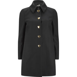 Love Moschino Women's Heart Button Wool Coat - Black