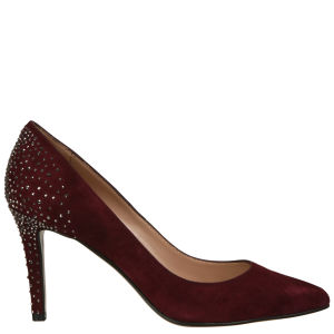 Lola Cruz Women's Jewelled Suede Court Shoes - Prune