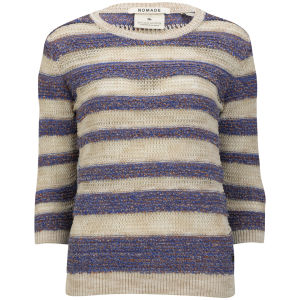 Maison Scotch Women's Retro Striped Knit Jumper - Coastal Blue