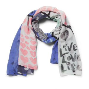 Codello Women's Happy World Crazy Animal Love Scarf - Navy Blue