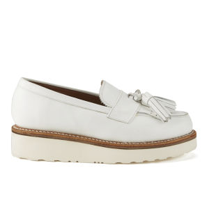 Grenson Women's Clara Leather Platform Tassel Loafers - White