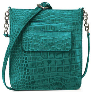 OSPREY LONDON The Carapace Polished Croc Leather Cross Body Bag - Kingfisher