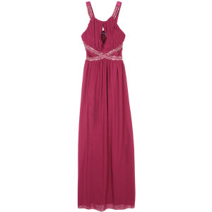 Little Mistress Women's Embellished Lace Panel Detail Maxi Dress - Berry