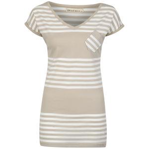Brave Soul Women's Keria T-Shirt - Mushroom/Cream