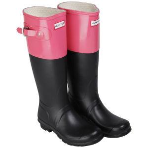 Hunter Women's Original Colour Block Wellies  - Black/Crimson Pink