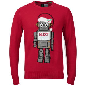 Christmas Branding Robot Knitted Jumper - Red