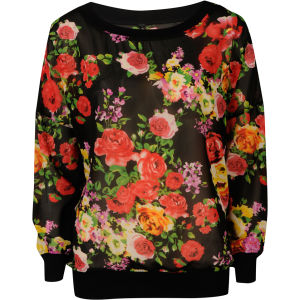 Influence Women's Chiffon Flower Printed Top - Black