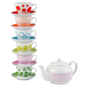 Tea Set with Stand - Dots and Stripes