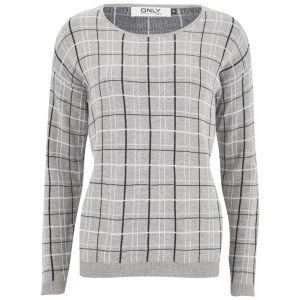 ONLY Women's Stella Check Jumper - Light Grey Melange