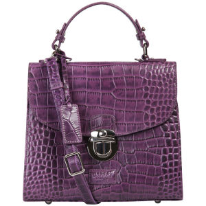 OSPREY LONDON The Maudie Polished Croc Leather Cross Body Bag - Purple