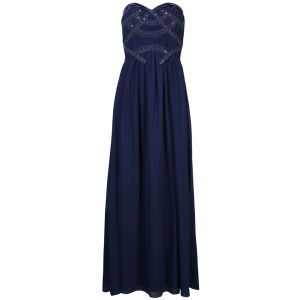 Little Mistress Women's  Embellished Bandeau Chiffon Maxi Dress - Navy