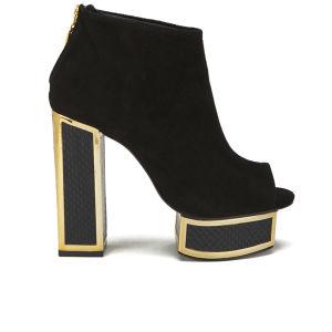 Kat Maconie Women's Velma Platform Peep Toe Suede Heeled Ankle Boots - Black