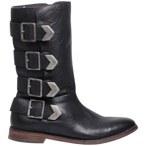 H by Hudson Women's Lock Buckle Calf Leather Knee High Boots - Black
