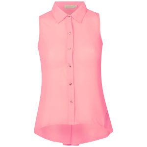 Nova Women's Sleeveless Chiffon Blouse With Button Back Detail - Neon Pink