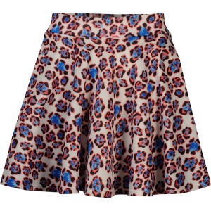 Glamorous Women's Colour Leopard Print Skater Skirt - Cream