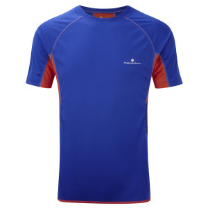 RonHill Men's Advance Short Sleeve Crew T-Shirt - Ultramarine/Burnt Orange