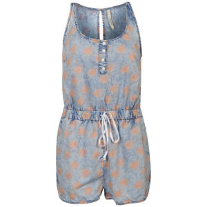 Pepe Women's Sese Wash Printed Denim Playsuit - Pink Multi