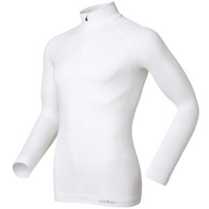 Odlo Men's Evolution Warm Long Sleeve 1/2 Zip Base Layer - White