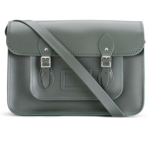 The Cambridge Satchel Company 15 Inch Season Brogued Leather Satchel - Dark Olive