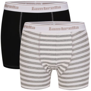 Lambretta Men's Two Pack Boxers - Black/Grey