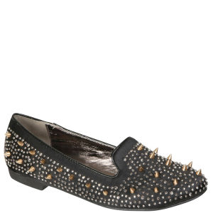 Odeon Women's Satin Studded Slipper Shoes - Black