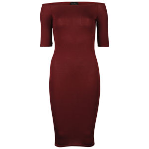 Club L Women's Off Shoulder Bardot Midi Dress - Berry