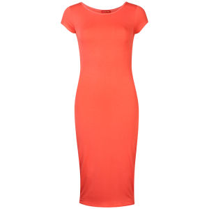 Influence Women's Midi Jersey Dress - Coral Orange