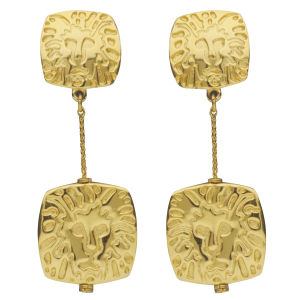 Susan Caplan Vintage Anne Klein Gold Plated Lions Head Drop Earrings