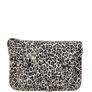 Zatchels 13 Inch Cracked Leather Satchel - Leopard