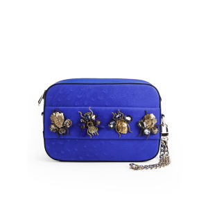 Matthew Williamson Women's Amelia Bejeweled Hand Through Leather Clutch/Cross Body Bag - Persian Blue