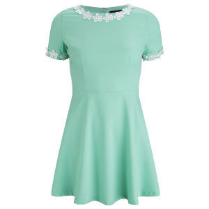 AX Paris Women's Flower Trim Skater Dress - Mint