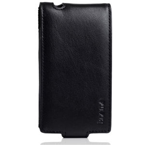 Knomo Black Leather iPhone 4 Flip Case
