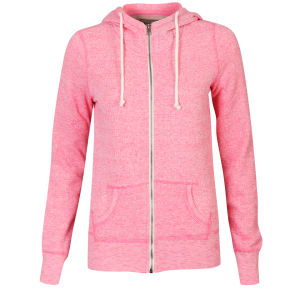 Brave Soul Women's Fleck Zip Through Hoody - Pink