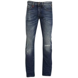 REPLAY Men's Waitom Vintage Rip and Repair Regular Slim Jeans - Mid Blue