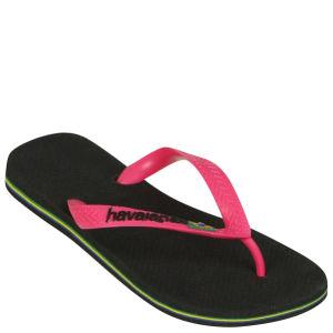 Havaianas Women's Brasil Logo Flip Flops - Black/Rose
