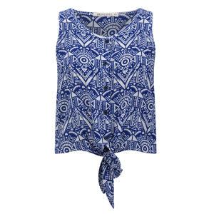 Brave Soul Women's Kat Tie Front Shirt - Blue