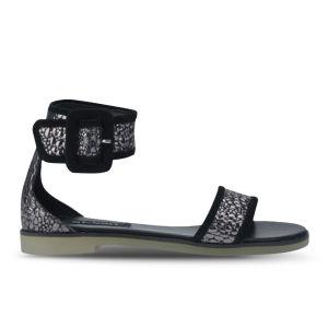 Senso Women's Frankie II Metallic Croc Leather Sandals - Pewter/Black