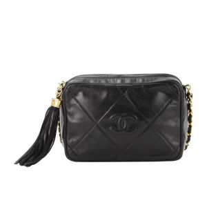 Chanel Vintage Fringe Quilted Leather Shoulder Bag - Black