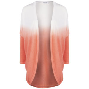 Moku Women's Dip Dye Knitted Jersey Cardigan - Coral/White