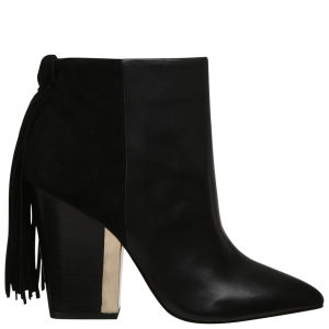 Sam Edelman Women's Mariel Fringed Leather Ankle Boots - Black