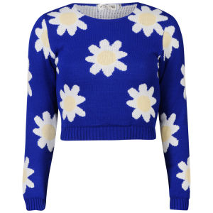 Women's Daisy Crop Knit Jumper - Blue