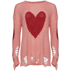 Wildfox Women's Happy Heart Jumper - Neon Sign
